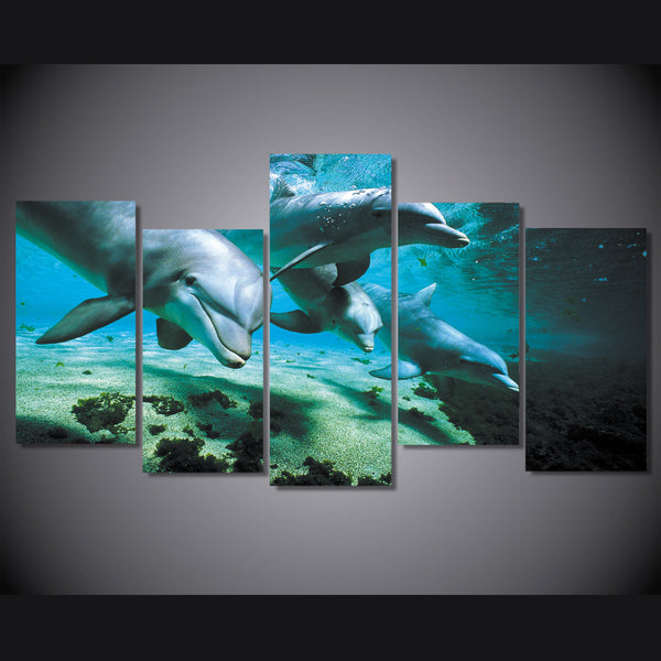 HD Printed Animals Dolphins 5 pieces Group Painting room decor print poster picture canvas Free shipping/ny-716