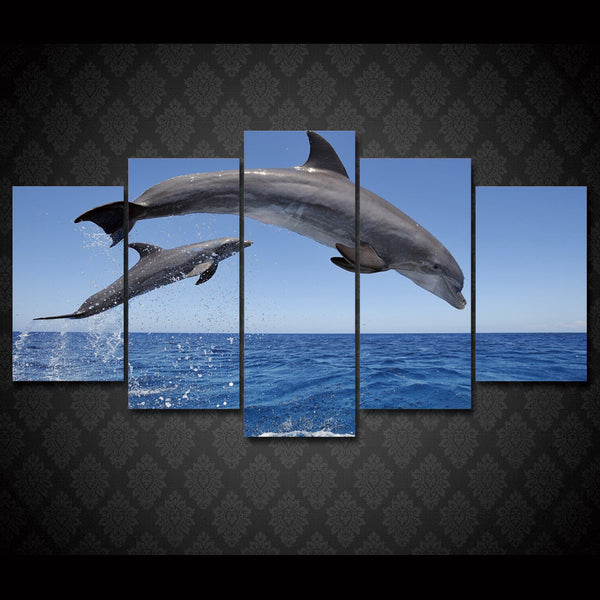HD Printed dolphin ocean seascape Group Painting room decor print poster picture canvas Free shipping/ny-004