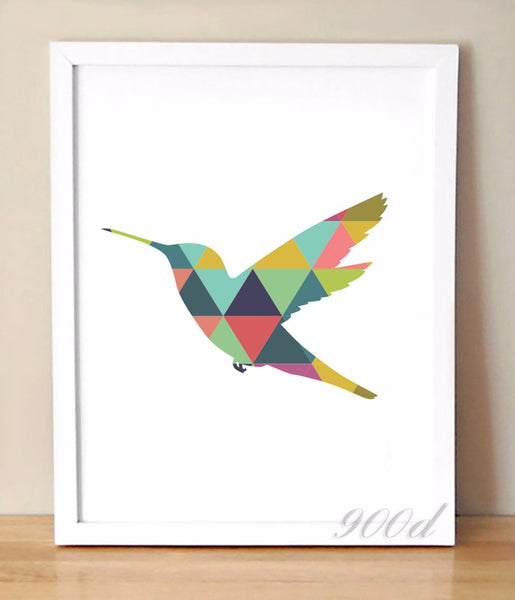 Geometric Flying Woodpecker Canvas Art Print Painting Poster, Wall Pictures For Home Decoration, Frame not include 237-37