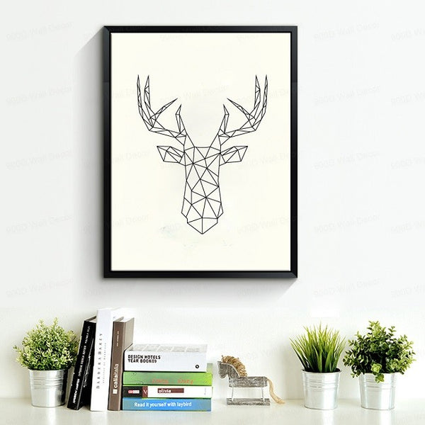 Geometric Deer Head Canvas Art Print Poster, Wall Pictures for Home Decoration, Wall decor FA221-8