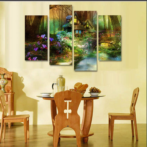 Printed dnature flowers forest trees house bridge Painting on canvas room decoration print poster picture canvas framed/ny-6370