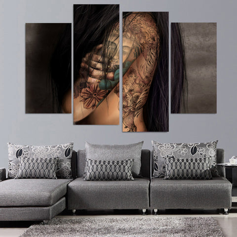 HD Printed 4 piece canvas art girl tattoo Painting on canvas room decoration Free shipping/ny-5045