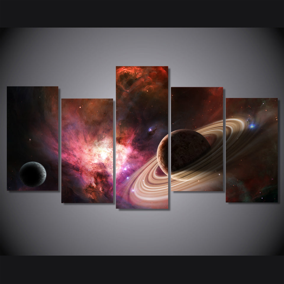 HD 5 piece canvas art print star universe galaxy planet painting on canvas room decoration Free shipping/NY-5758