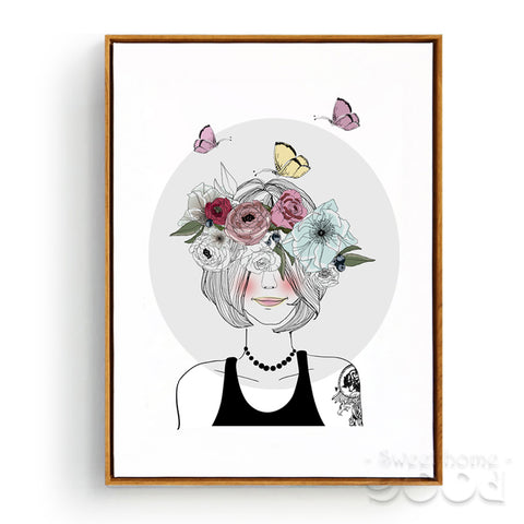 Girl with Flowers Canvas Art Print Painting Poster,  Wall Pictures for Home Decoration, Wall Decor CM033-1