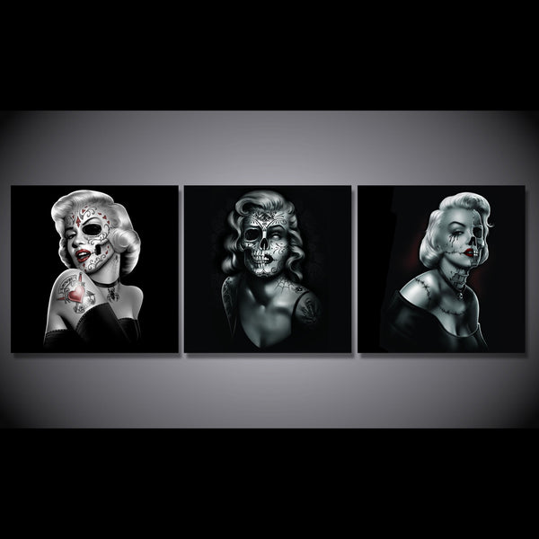 HD Printed Marilyn Skull Painting art Canvas Print room decor print poster picture canvas Free shipping/NY-6351