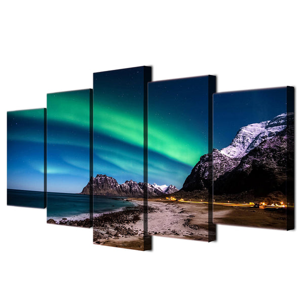 5 piece wall art canvas painting HD print northern light aurora living room decoration abstract painting free shipping ny-5997