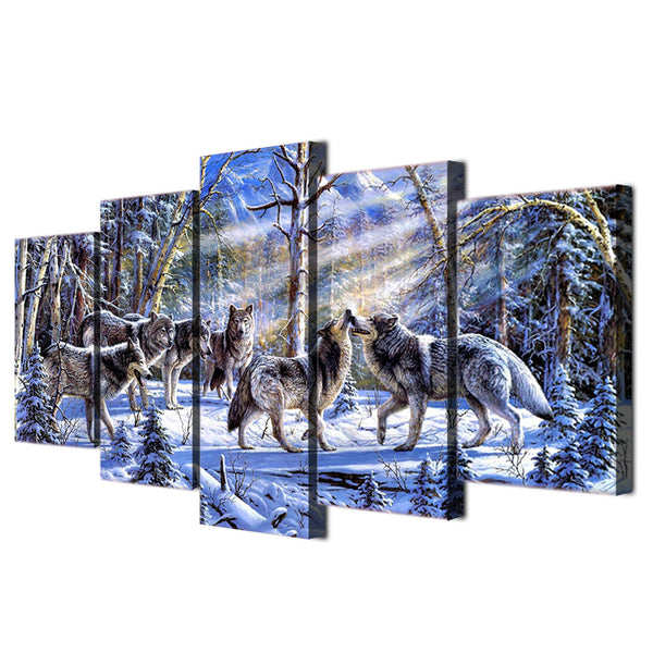 HD Print 5 piece canvas art snow wolf painting wolves decoration pictures Room wall pictures free shipping/ny-4978