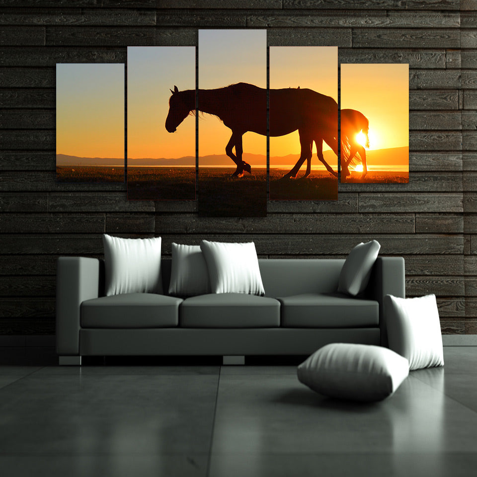 HD Printed The setting sun animals horse Painting Canvas Print room decor print poster picture canvas Free shipping/ny-4409