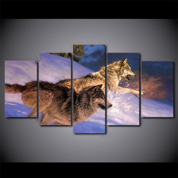 HD Printed Two wolves running in the snow Painting Canvas Print room decor print poster picture canvas Free shipping/ny-4977