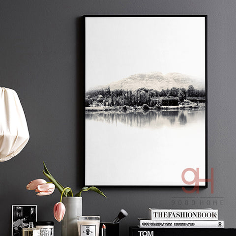 Nordic Style River Canvas Art Print Painting Poster, Landscape Wall Pictures for Home Decoration, Wall Decor BW011