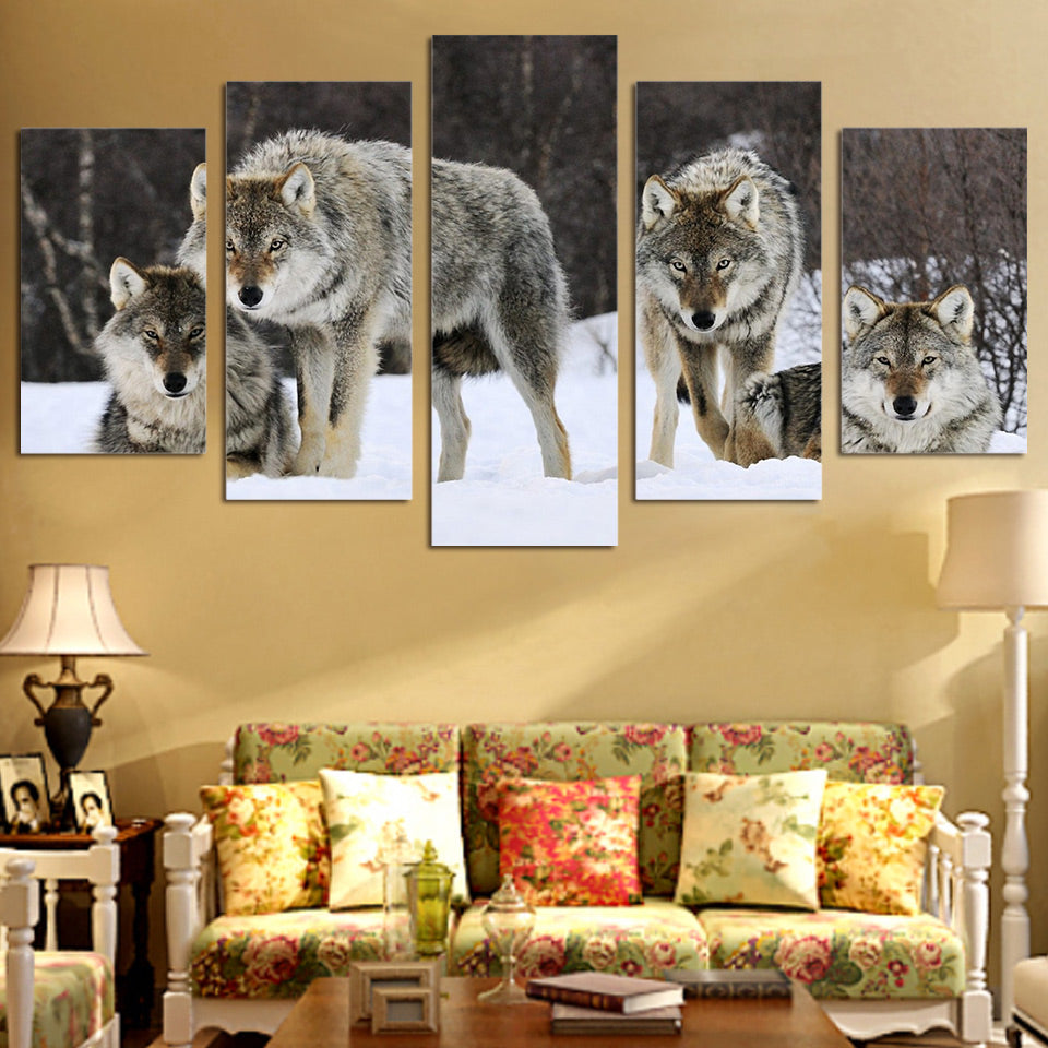 HD Printed 5 piece canvas art wolf snow wild animal painting livingroom decoration wall art Free shipping/ny-2808