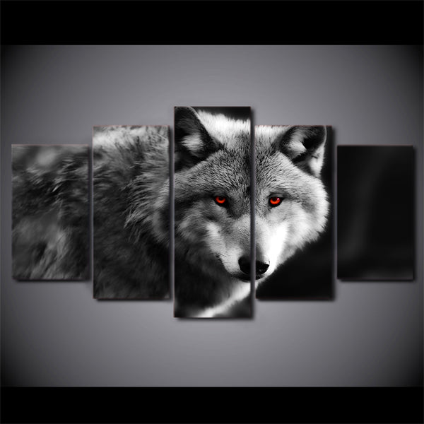 HD Printed 5 piece canvas art red eye wolf painting 2017 new wall canvas art framed artwork Free shipping/ny-4208
