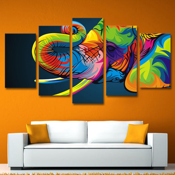 HD Printed 5 piece canvas art Colorful elephant Painting wall decorations living room Free shipping/ny-2650