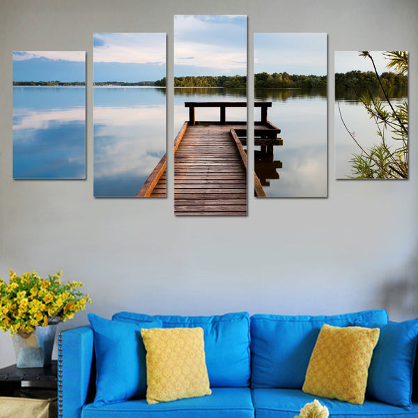 HD Printed 5 piece wall art picture for living room decoration lake forest wooden bridge wall art canvas painting ny-6134
