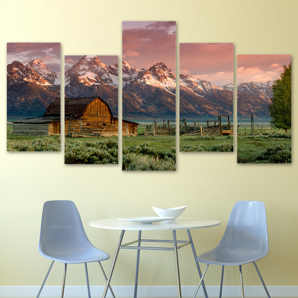 HD Printed barn teton rocky mountains Painting on canvas room decoration print poster picture Free shipping/ny-2326