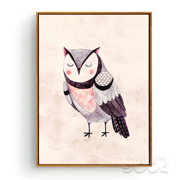 Watercolor Owls Canvas Art Print Poster, Wall Pictures for Home Decoration, Giclee Wall Decor CM025-3