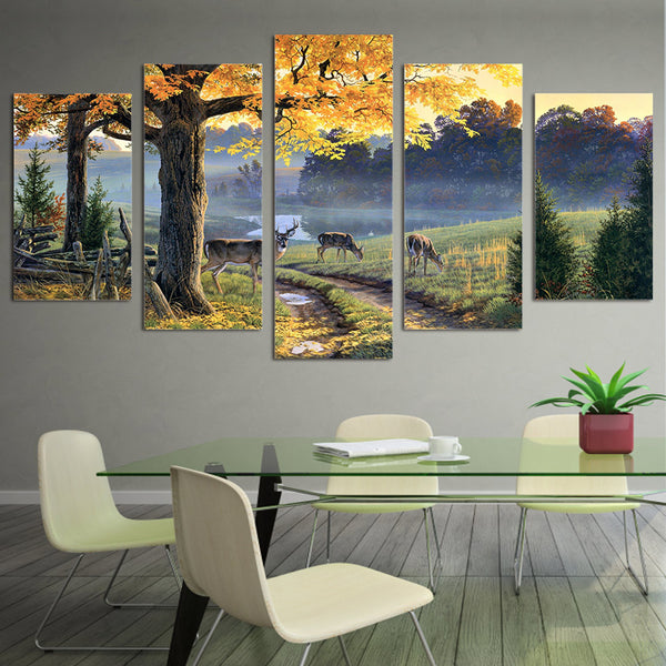 HD Printed Autumn lake animal deer Painting Canvas Print room decor print poster picture canvas Free shipping/ny-5973