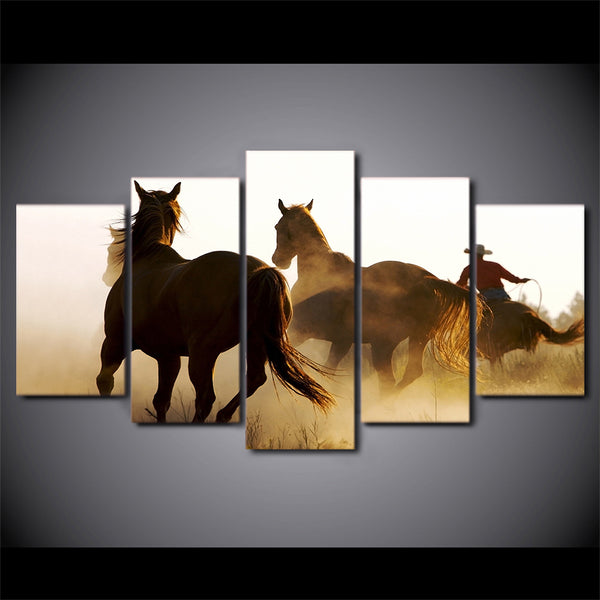 HD Printed Cowboys Horses Group Painting Canvas Print room decor print poster picture canvas Free shipping/H103