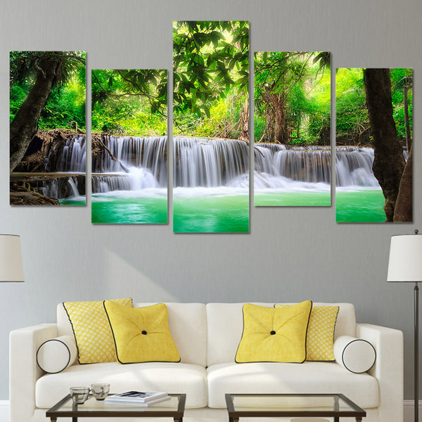 HD Printed 5 piece canvas green waterfall tree scenery modular pictures on the wall Free shipping/NY-493