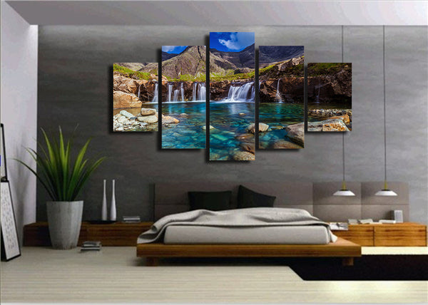 HD Printed nebo gory potoki kamni ozero Painting Canvas Print room decor print poster picture canvas Free shipping/NY-5914