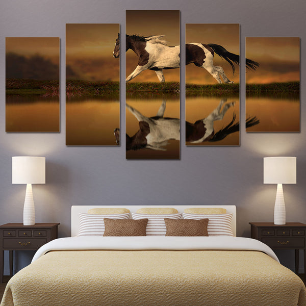 HD Printed Horse Lake Painting on canvas room decoration print poster picture canvas Free shipping/ny-1638