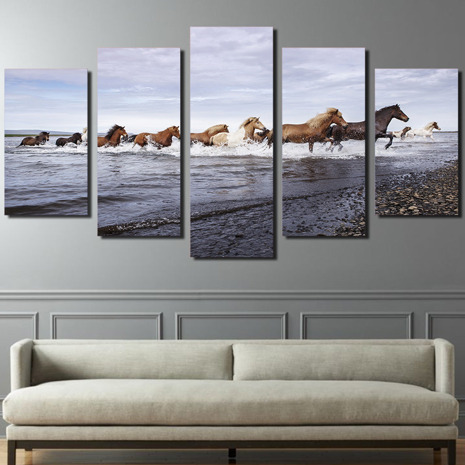 HD Printed Horses across the river Painting on canvas room decoration print poster picture canvas Free shipping/ny-2039