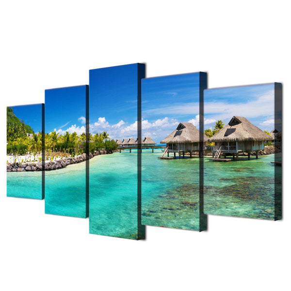 5 piece wall art canvas painting HD print seasight seascape beach wooden house sky home decor art print wooden frame ny-6127