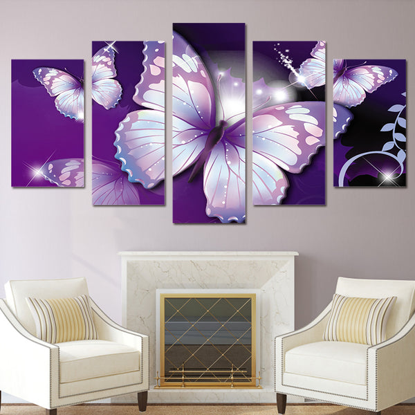 HD Printed purple butterfly Painting Canvas Print room decor print poster picture canvas Free shipping/ny-2882