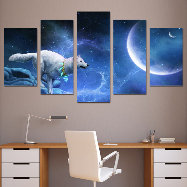 HD Printed magic white wolf Group Painting Canvas Print room decor print poster picture canvas Free shipping/ny-321