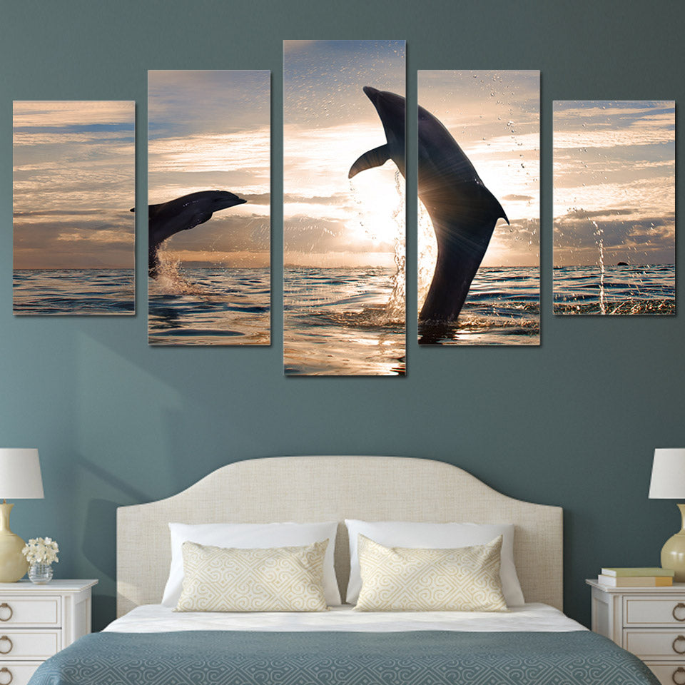 HD Printed beautiful playful dolphins Painting Canvas Print room decor print poster picture canvas Free shipping/ny-2009
