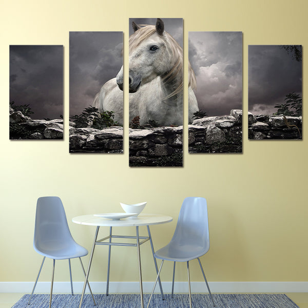 HD Printed Animals White Horse Painting on canvas room decoration print poster picture canvas Free shipping/ny-3084