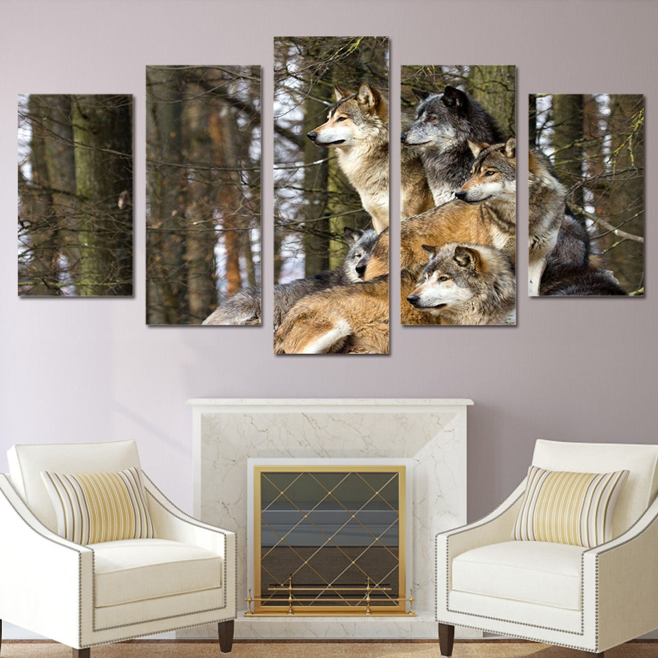 HD Printed wolf pack animal Painting on canvas room decoration print poster picture canvas Free shipping/ny-2828
