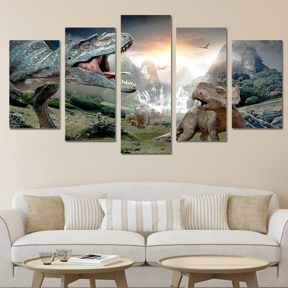 HD Printed walking with dinosaurs Group Painting Canvas Print room decor print poster picture canvas Free shipping/ny-1380