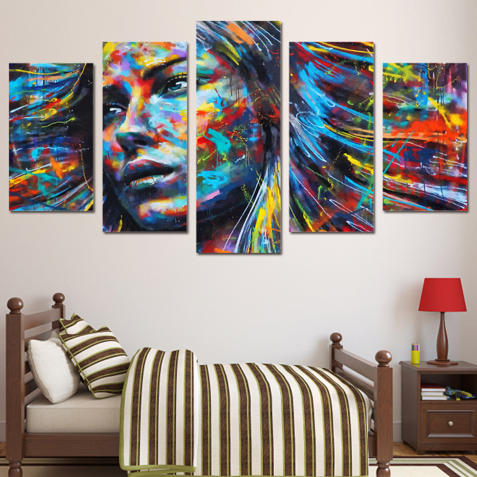 wall art canvas painting 5 piece HD print abstract colorful hair woman face posters and prints canvas art home decor ny-6129