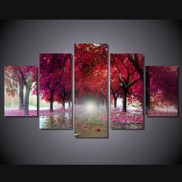 canvas painting 5 piece HD printed home decoration pink tree maple defoliation fallen leaves art canvas for living room ny-6038