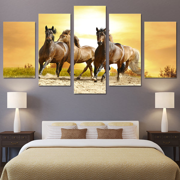 HD Printed Animals running horses Painting Canvas Print room decor print poster picture canvas Free shipping/ny-4312