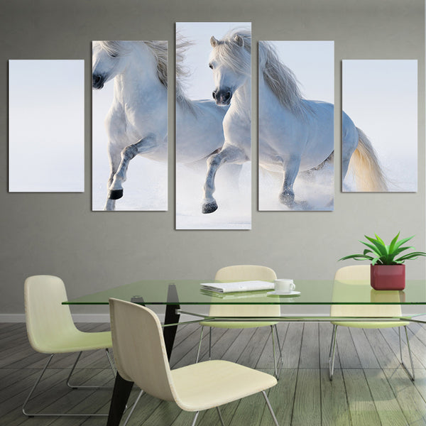 HD Printed White horses Group Painting on canvas room decoration print poster picture canvas framed Free shipping/ny-929