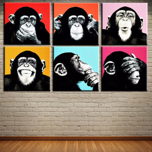 DPARTISAN 6PCS Andywarol monkey Wall painting print on canvas for home decor ideas paints on wall pictures art No framed