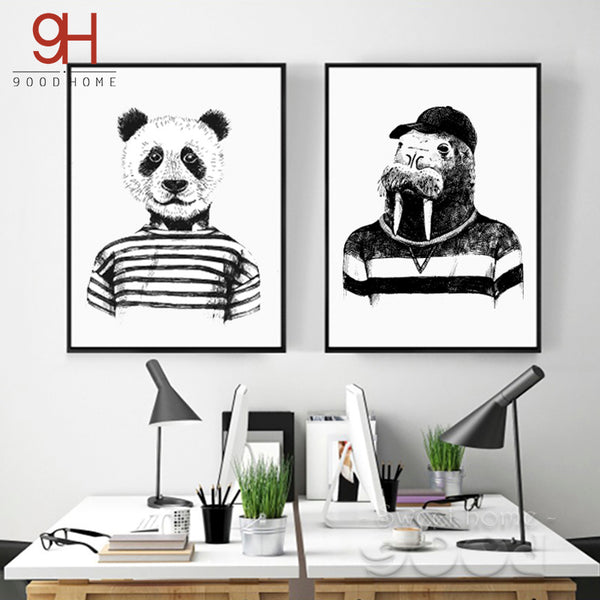 Hand draw Animals Canvas Art Print Poster,  Panda And Hippo Set Wall Pictures for Home Decoration, Giclee Wall Decor Cm036