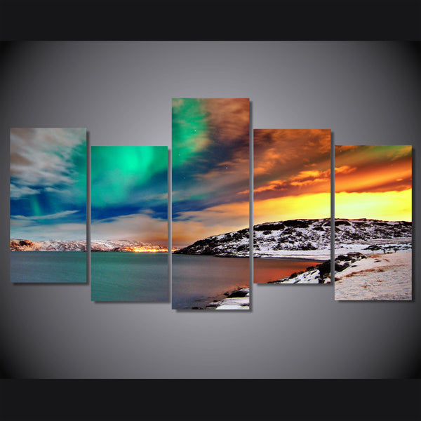 HD 5 piece canvas printed nordic snow mountain Aurora Painting on canvas nordic room decoration Free shipping/ny-6385