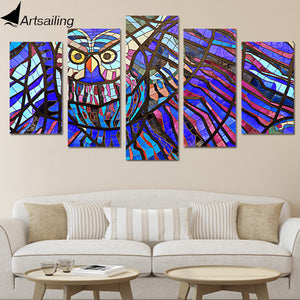 HD Printed Owl pattern 5 pieces Group Painting Canvas Print room decor print poster picture canvas Free shipping/ny-556