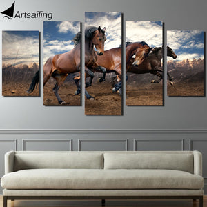 HD Printed Animals running horse 5 piece picture painting wall art Canvas Print room decor poster canvas Free shipping/NY-5723
