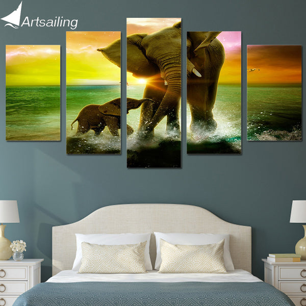 HD Printed Elephant Family Painting Canvas Print room decor print poster picture canvas Free shipping/ny-3090