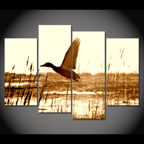 HD Printed 4 piece canvas wall art duck flying lake Painting room decoration decorative pictures Free shipping/NY-5856