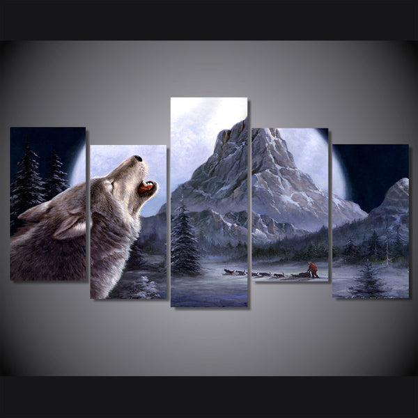 HD Printed The Wolf howl moon mountain Painting Canvas Print room decor print poster picture canvas Free shipping/ny-4509