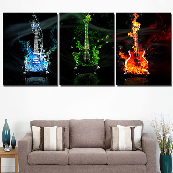 HD Printed 3 panel canvas art music guitar painting wall art livingroom decoration cuadros poster picture Free shipping/ky-355