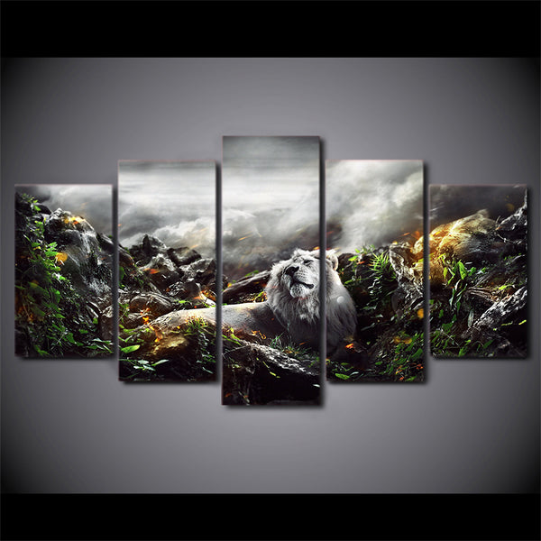 HD Printed jungle lion 5 piece picture Painting wall art room decor print poster picture canvas Free shipping/ny-590