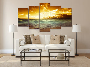 HD Printed Sunset waves picture Painting wall art room decor print poster picture canvas Free shipping/ny-692