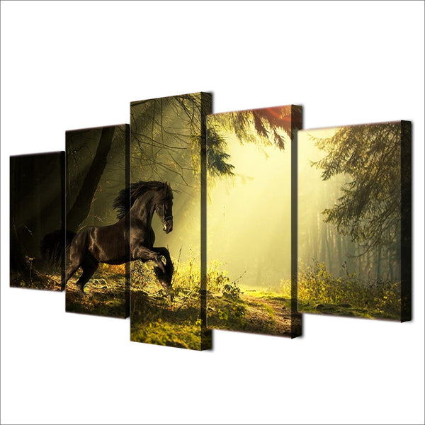 HD Printed majestic horse training the forest Painting Canvas Print room decor print poster picture canvas Free shipping/ny-4503