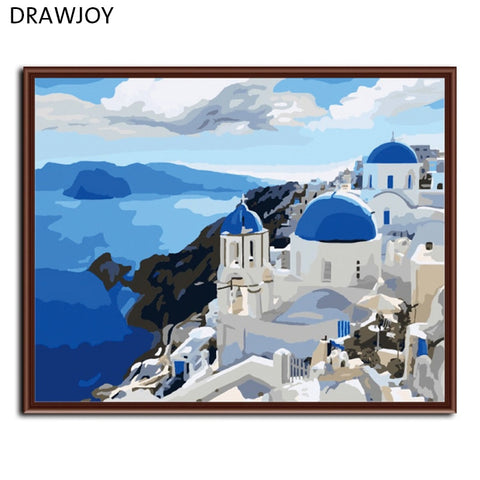 Frameless Wall Art DIY Oil Painting By Numbers Hand Painted Canvas Painting Seascape Home Decor 40*50cm -Mediterranean G005